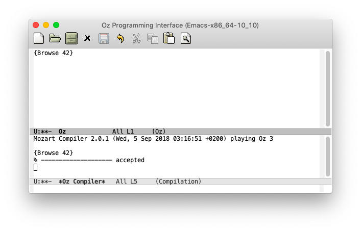 ``{Browse 42}`` と書くと 42 を表示するプログラムになる.コンパイルに成功し, accepted と表示されているのが分かる.