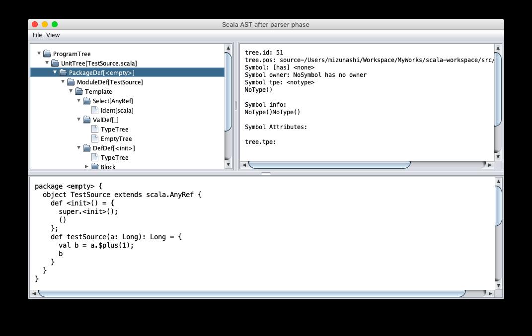 構文木をツリー表示する GUI 画面.