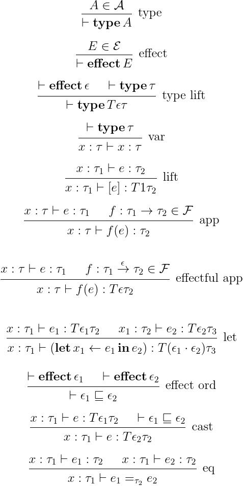 エフェクトに相当する,結合演算と比較演算上の情報が型に付加された,メタ言語.