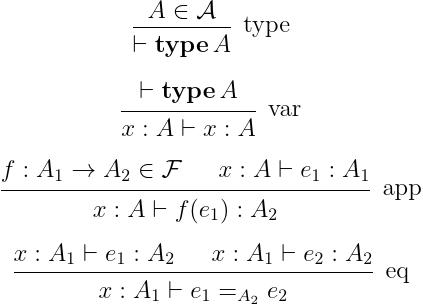 単純な言語の構文.上で挙げた四つの構文要素の規則.