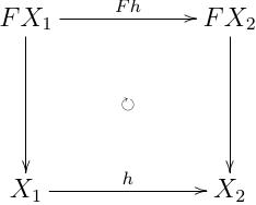 :math:`F X_1 \xrightarrow{a_1} X_1`,:math:`F X_2 \xrightarrow{a_2} X_2` に対して,:math:`f \circ a_1 = a_2 \circ F f` を満たす :math:`X_1 \xrightarrow{h} X_2`